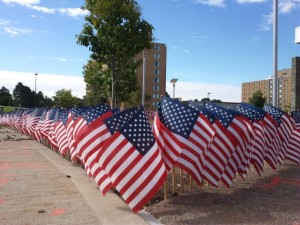 flags placed outside of Campus Center as a tribute to Sept. 11, 2001