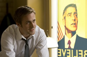 "Ryan Gosling (right) is the young, confident and ambitious junior campaign manager for a presidential candidate in ""The Ides of March,"""