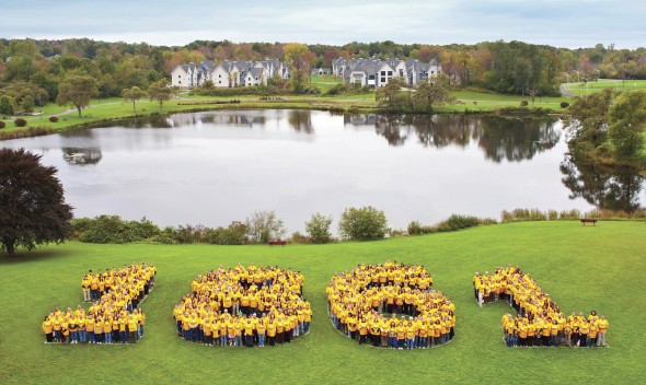 "Students form the numbers ""1861,"" or when Oswego State was formed."