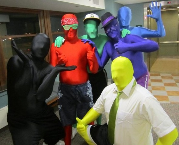 Morphsuit people gathered for a group picture