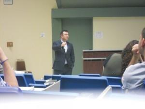 Syracuse University's Yildiray Yildrim addresses a group of students