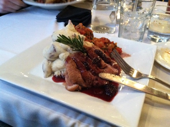 Bistro's duck special has a good balance of striking taste and sweetness. (Seamus Lyman | The Oswegonian)