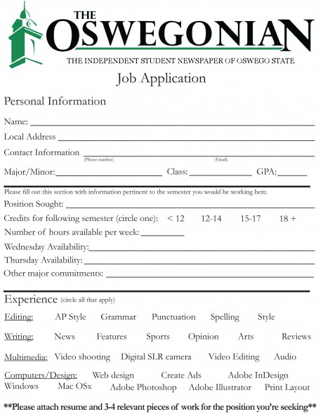 Oswegonian Staff Application (PDF)