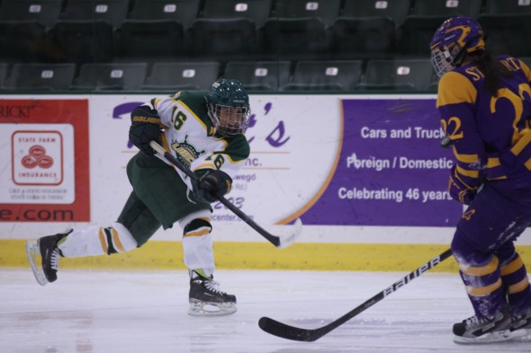 Junior forward Melissa Seamont fires a shot during a game against Elmira College. Seamont leads Oswego State with nine goals, 15 assists and 24 points. (Photo provided by Sports Information)