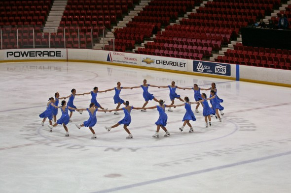 Members of the Oswego State Synchronized Skating Team compete in the Eastern Sectional Synchronized Skating Championships at Lake Placid. (Photo provided by Synchronized Skating Team)