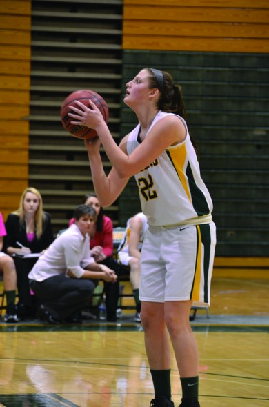 Senior captain Meagan Stover takes a shot during the Lakers' 47-46 win over SUNY Oneonta. (Nick Graziano | The Oswegonian)