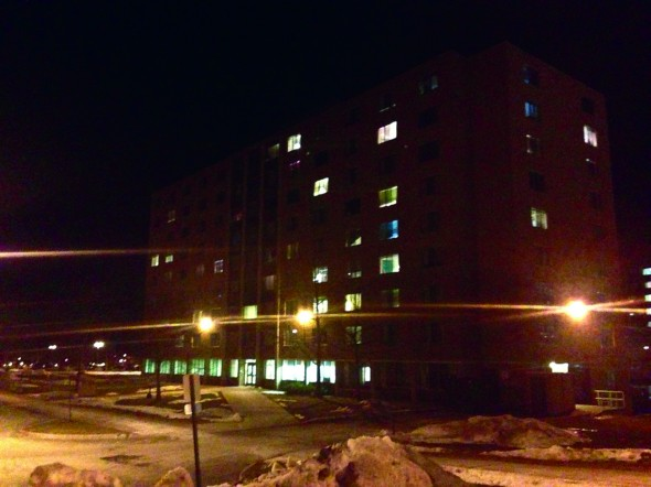 Funnelle Hall experienced at least eight thefts in the early morning hours of Tuesday, Feb. 12 as residents reported stolen cell phones, cash and various electronics. (Luke Parsnow | The Oswegonian)