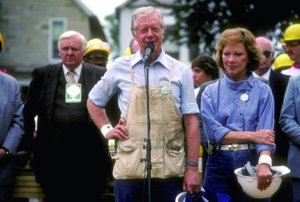 Former United States President Jimmy Carter and wife Rosalynn Carter have been supporters of Habitat for Humanity for decades, seen here in 1986. (Photo provided by habitat.org)