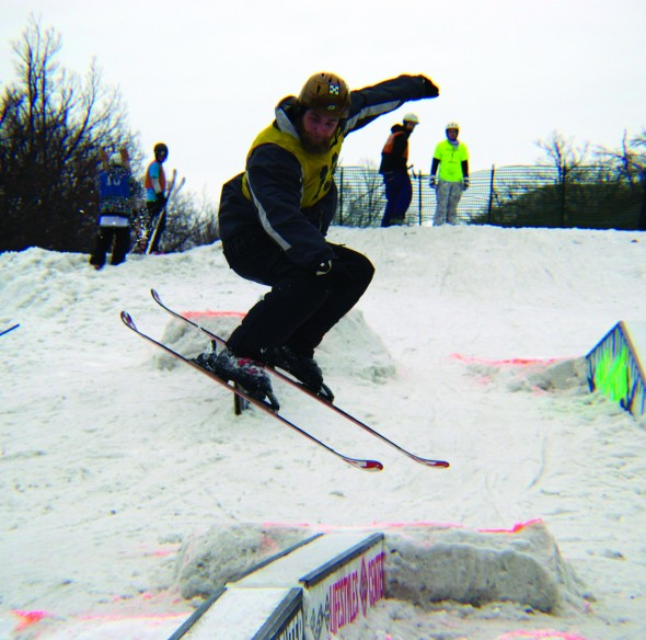 Mike Beshures, one of the skiers that performed on Saturday, is seen taking a jump. During the Rail Jam, participants competed with each other in heats. (Photo provided by Eric Muldoon)