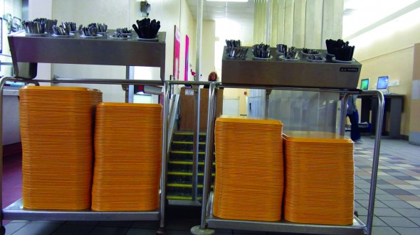 Trays such as those pictured above may be leaving dining halls if a SUNY SA proposal is adopted. (Nick Graziano | The Oswegonian)
