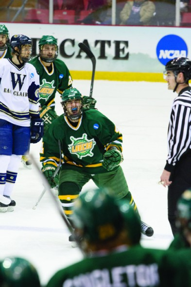 Sophomore defender Bobby Gerstakis celebrates a goal during the NCAA Championship Game. (Taylor Clock | The Oswegonian)