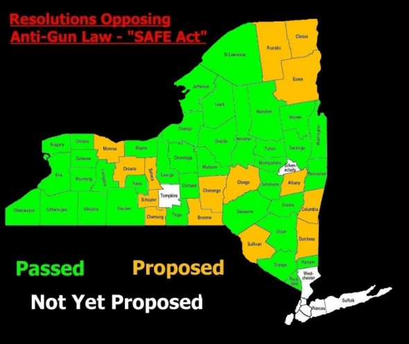 NYSAFEResolutions.com created this graphic that shows which counties condemned the SAFE Act. (Graphic provided by Jason Benner)