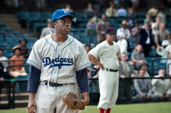 Chadwick Boseman shines in his break-out role as Jackie Robinson. (Photo provided by thecoast.ca)