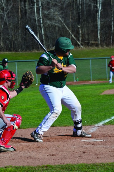 Sophomore catcher Kyle Liner waits for a pitch during the Lakers' doubleheader loss to SUNY Cortland. (Nick Graziano | The Oswegonian)
