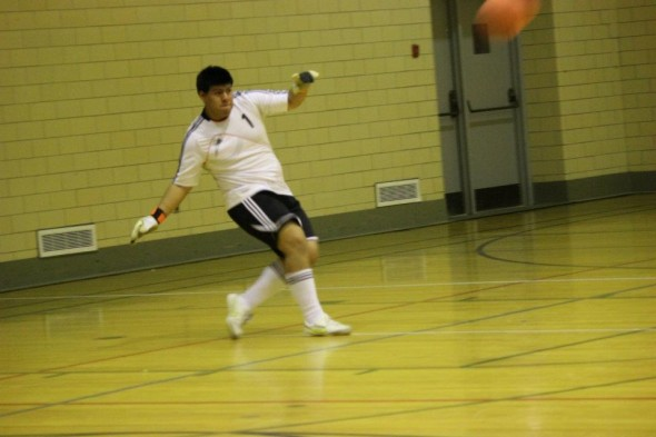 Oswego State students take part in an indoor soccer tournament. The postseason is currently underway, with the champoinship game just around the corner. (Photo provided by Campus Recration)
