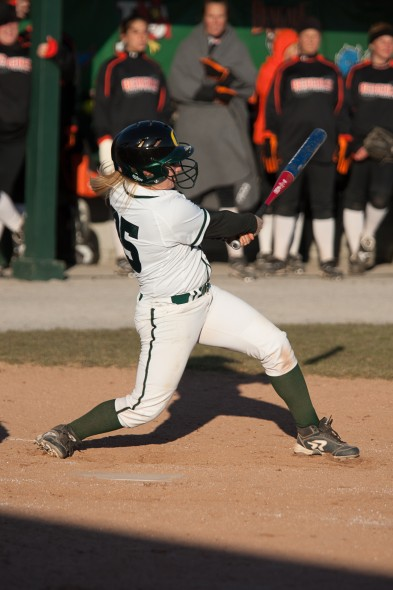 Freshman shortstop Tori Torvato swings at a pitch during the Lakers' doubleheader sweep of SUNY Fredonia on Saturday. Oswego State won 11-10 and 5-4. (Photo provided by Chuck Perkins Photography)