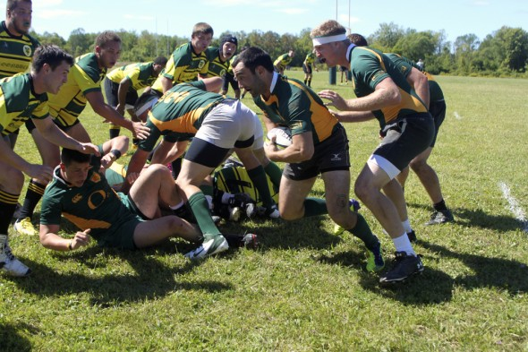Oswego State's Andrew Auriemma recovers the ball after the scrum and prepares to take off up field. (Photo provided by Reid Adler)