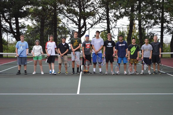 Students pose for a picture on the court after taking part in free lessons and a tennis tournament hosted by Campus Recreation on Thursday, Sept. 12.  (Photo provided by Campus Recreation)