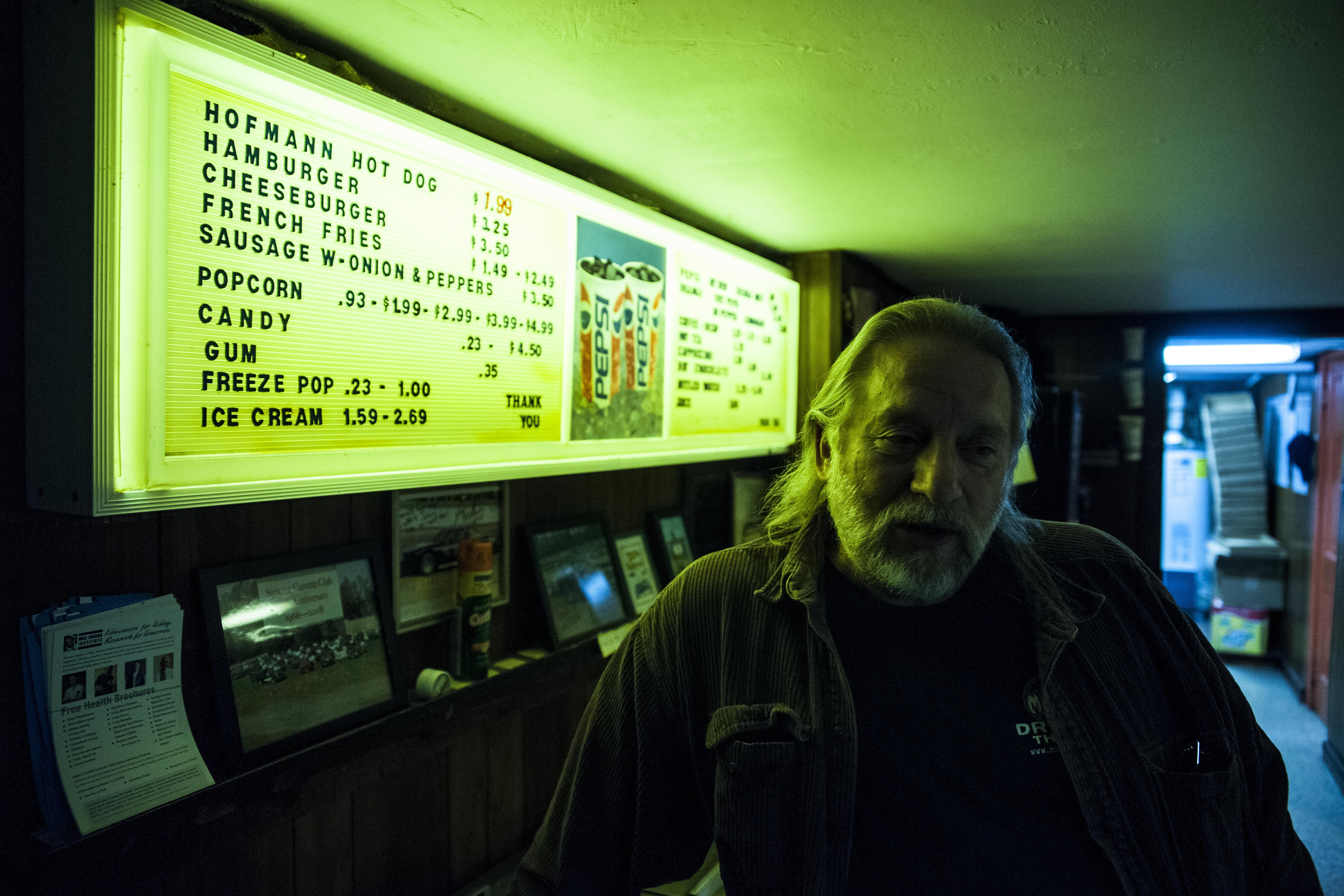 John Nagelschmidt Sr. in the concession stand at the Midway Drive-In