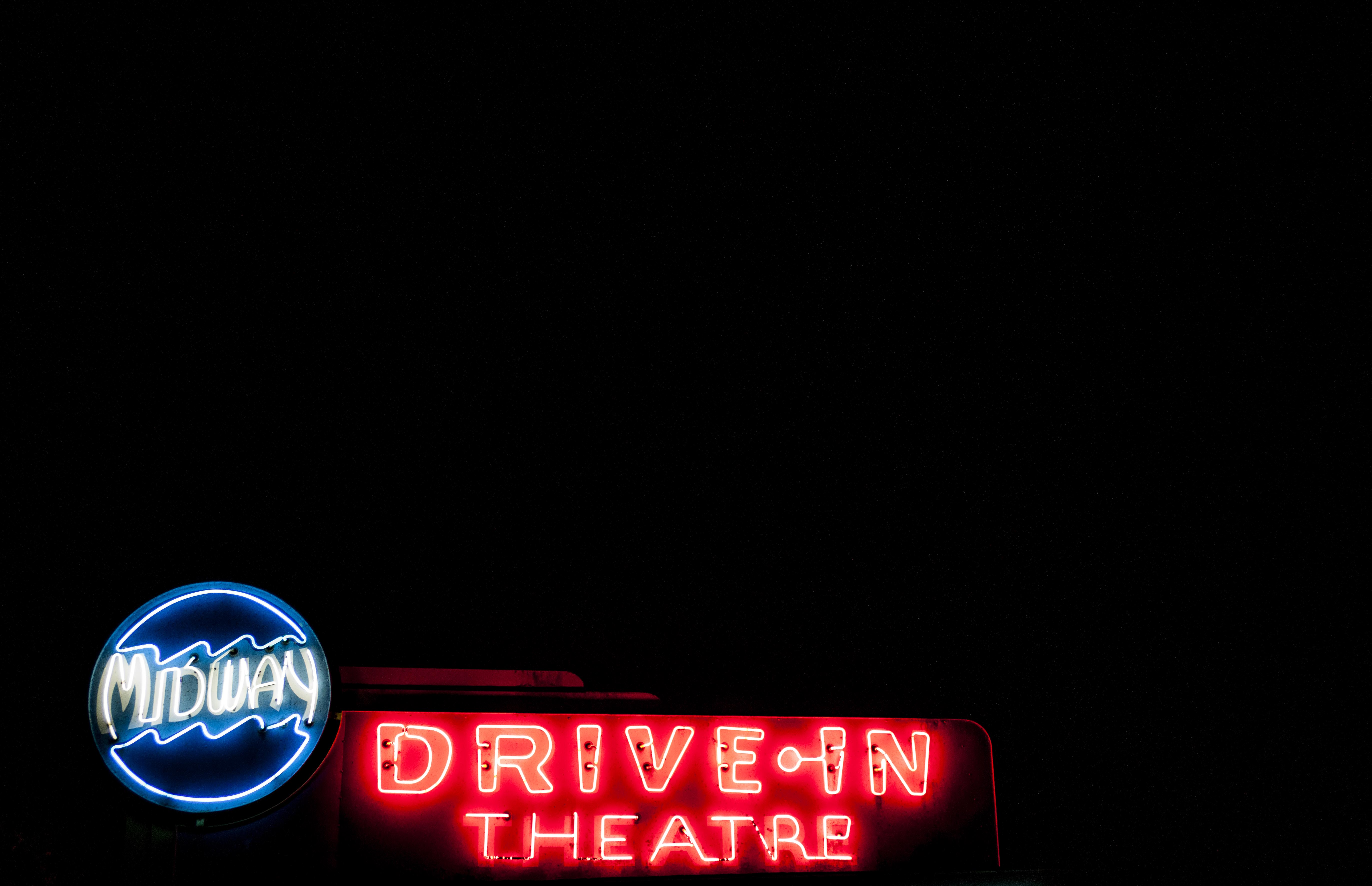 Midway Drive-In's marquee that lights up on the side of Route 48
