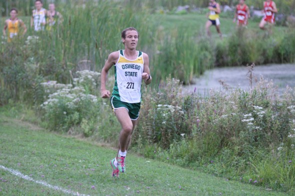 Senior Damian Archie runs in the Don Masterson Invitational on Saturday. He was the top Laker runner and finished 16th overall in the men's race.  (Photo provided by Sports Information)