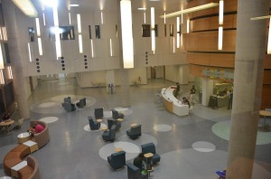 Some students study outside the Fusion Cafe located inside the new Shineman Center. (Patrick Malowski | The Oswegonian)