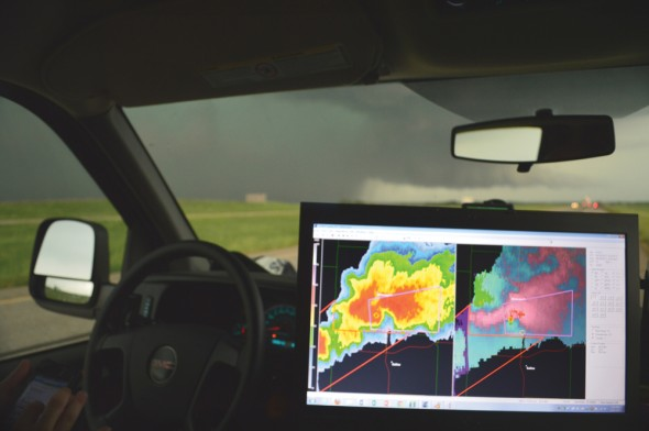 Students followed storms in real time on the road allowing them to get close to the weather phenomenas. They could also track and discover new storms.  (Photo provided by Patrick Cavlin)