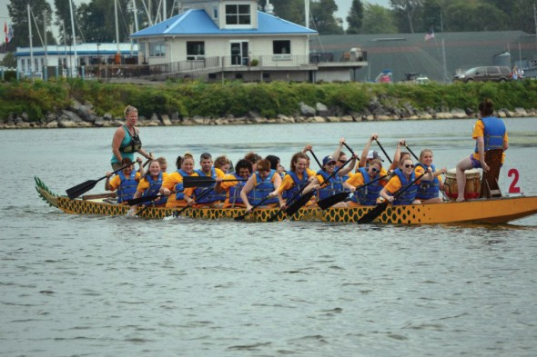 Competitors from last years' event participate in a race off the shores of Lake Ontario. This year marked the second annual holding of the event.  (Photo provided by Oswego YMCA)