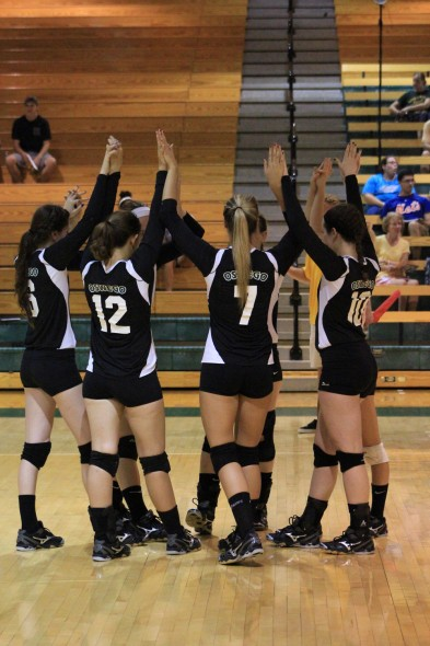 The Oswego State volleyball team cruised to a victory in straight sets against Morrisville State College.  (David Armelino | The Oswegonian)