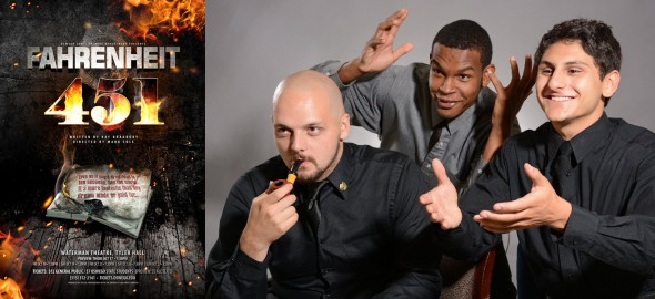 "Directed by the theatre department chair, Mark Cole, ""Fahrenheit 451"" stars Tyler Eldred, Issack Cintron and Dante Giannetta.  (Photo provided by oswego.edu)"