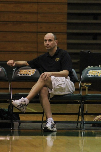 Volleyball head coach J.J. O'Connell looks to continue building the program in his second season.  (David Armelino | The Oswegonian)