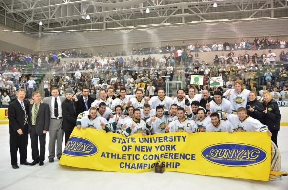 The Oswego State men's ice hockey team is looking to repeat as SUNYAC champions in 2013-14. The team lost in the NCAA championship game last year.  (Nick Graziano | The Oswegonian)