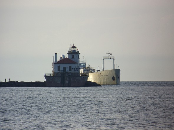 A ship heads toward the Port of Oswego, a recent recepient of a $192,000 federal grant.  (Photo provided by Flickr)
