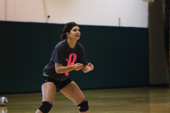 Captain Sabrina Sutton has embraced her role as a veteran leader on and off the court for the Oswego State volleyball team during her senior campaign.  (David Armelino | The Oswegonian)