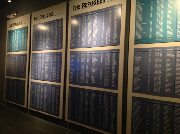 The names of the refugees on the wall at the Safe Haven museum.