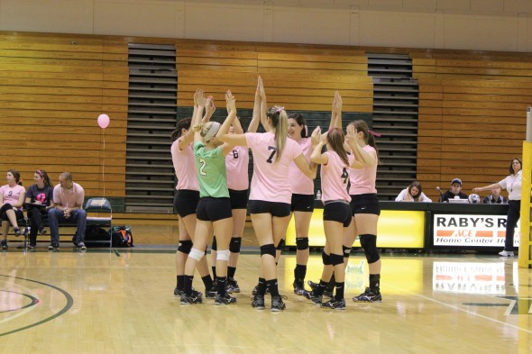 The Oswego State volleyball team donned pink uniforms to support and raise awareness for breast cancer.  (Perry Kennedy | The Oswegonian)