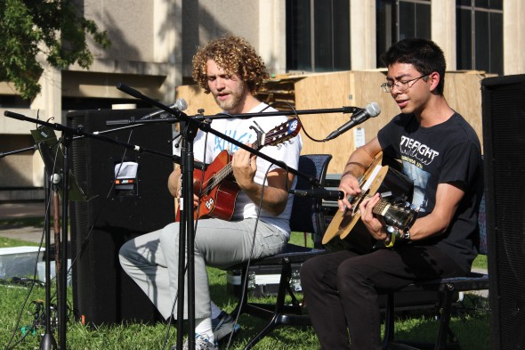 Michael Beshures and Steven Radford of student band Afterthoughts perform during the Acoustics in the Quad concert.  (Photo provided by Perry Kennedy)