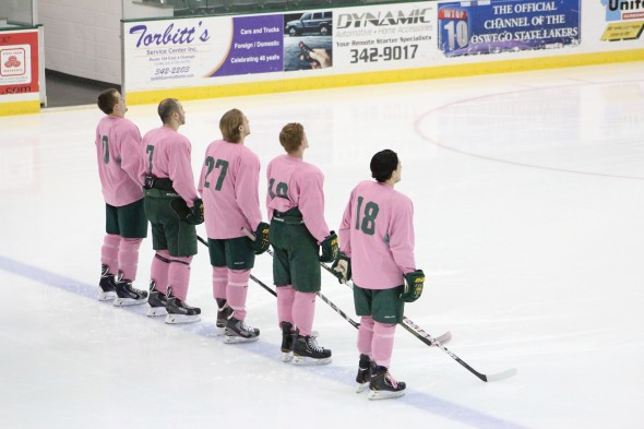 "The Oswego State men's club hockey team hosted Syracuse on Sunday as part of ""Pink the Rink"" weekend in support of Breast Cancer Awareness. The Lakers won 2-0.  (David Armelino 