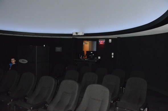 The new planetarium in the Richard S. Shineman Center for Science, Engineering and Innovation holds reoccurring shows every Sunday and has new shows once a month.  (Seamus Lyman | The Oswegonian)