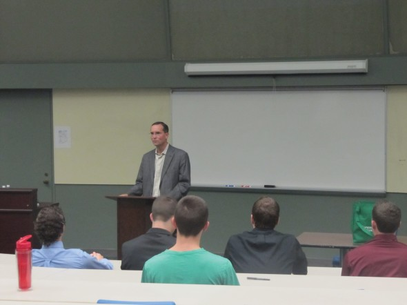 Mark Tryniski speaks to students in Lanigan Hall about his career and important things employers look for.  (Daniel O'Connor | The Oswegonian)