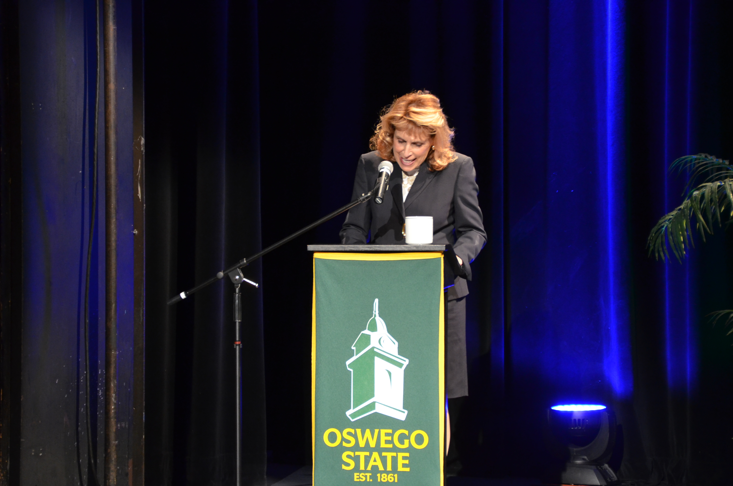 President Deborah Stanley gives speech before the panel discussion. (Patrick Malowski | The Oswegonian)