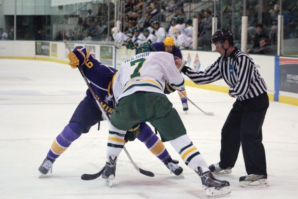 Freshman forward Shawn Hulshof prepares for a faceoff during Oswego State's 7-3 win against Elmira College. The win extends the Lakers' winning streak to three.  (David Armelino | The Oswegonian)