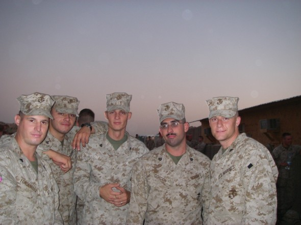 Matthew Gordon (second from right) standing with fellow marines in Kuwait.  (Photo provided by Matthew Gordon)