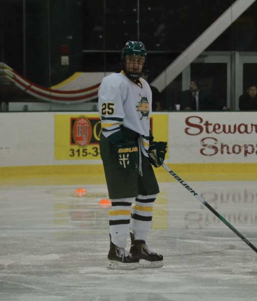 Freshman Dylan Smith had a solid fall golf campaign and already recorded his first goal on the ice in 2013.  (Seamus Lyman | The Oswegonian)