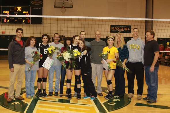 Seniors from the volleyball team pose for a picture after being honored during the team's Senior Day.  (Photo provided by Sports Information)