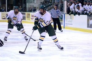 Freshman Shawn Hulshof  led the high powered Oswego State scoring attack with a game-high two goals. (David Armelino | The Oswegonian)