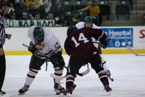 Senior captain David Titanic lifted a weight of his shoulders last night in the Lakers 7-1 victory over SUNY Potsdam and will now look to lead his team past rival Plattsburgh State. (David Armelino | The Oswegonian)