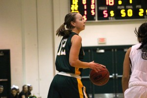 Sophomore guard/forward Heather Hebert was once again a force to be reckoned with in the post this afternoon versus SUNY Potsdam. (David Armelino | The Oswegonian)