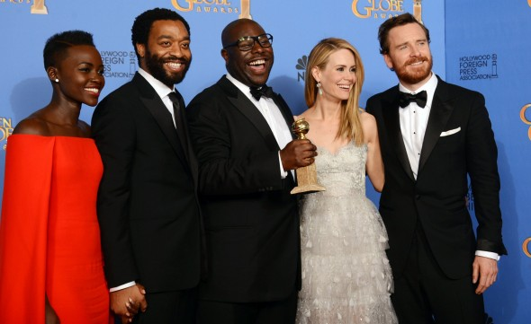 "Stars of ""12 Years A Slave"" Lupita Nyong'o, Chiwetel Ejiofor, director Steve McQueen, Sarah Paulson, and Michael Fassbender on the red carpet after being nominated seven times, but only winning Best Picture.  (Photo provided by post-gazette.com)"
