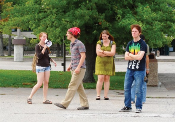 Students using amplified sound in the Academic Quad for Freedom of Speech Fridays. The weekly event existed until 2011 when a rule regarding amplified sound was enforced.  (Photo provided by Rebecca Burch)